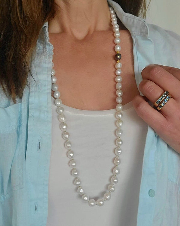 Long White Edison Pearl Necklace