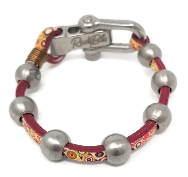 Art Deco Leather & Steel Bracelet