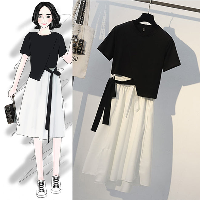 Large size women's blouse design sense a word skirt was thin and age-old fashion dress suit skirt