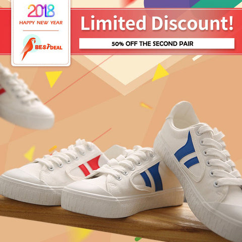 【Crazy Discount: 50% off the Second Pair】Women Causal White Breathable Flat Canvas Shoes
