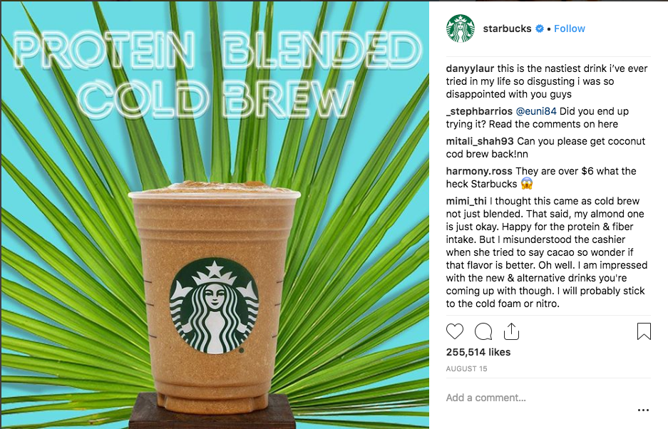 new starbucks drink is super gross. plant protein?
