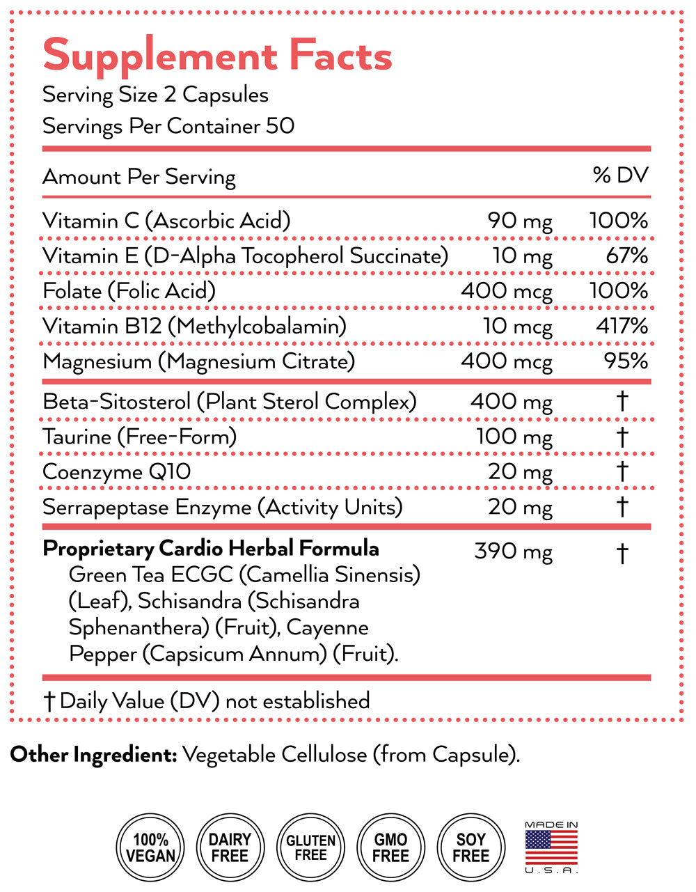 heart supplement nutrition facts