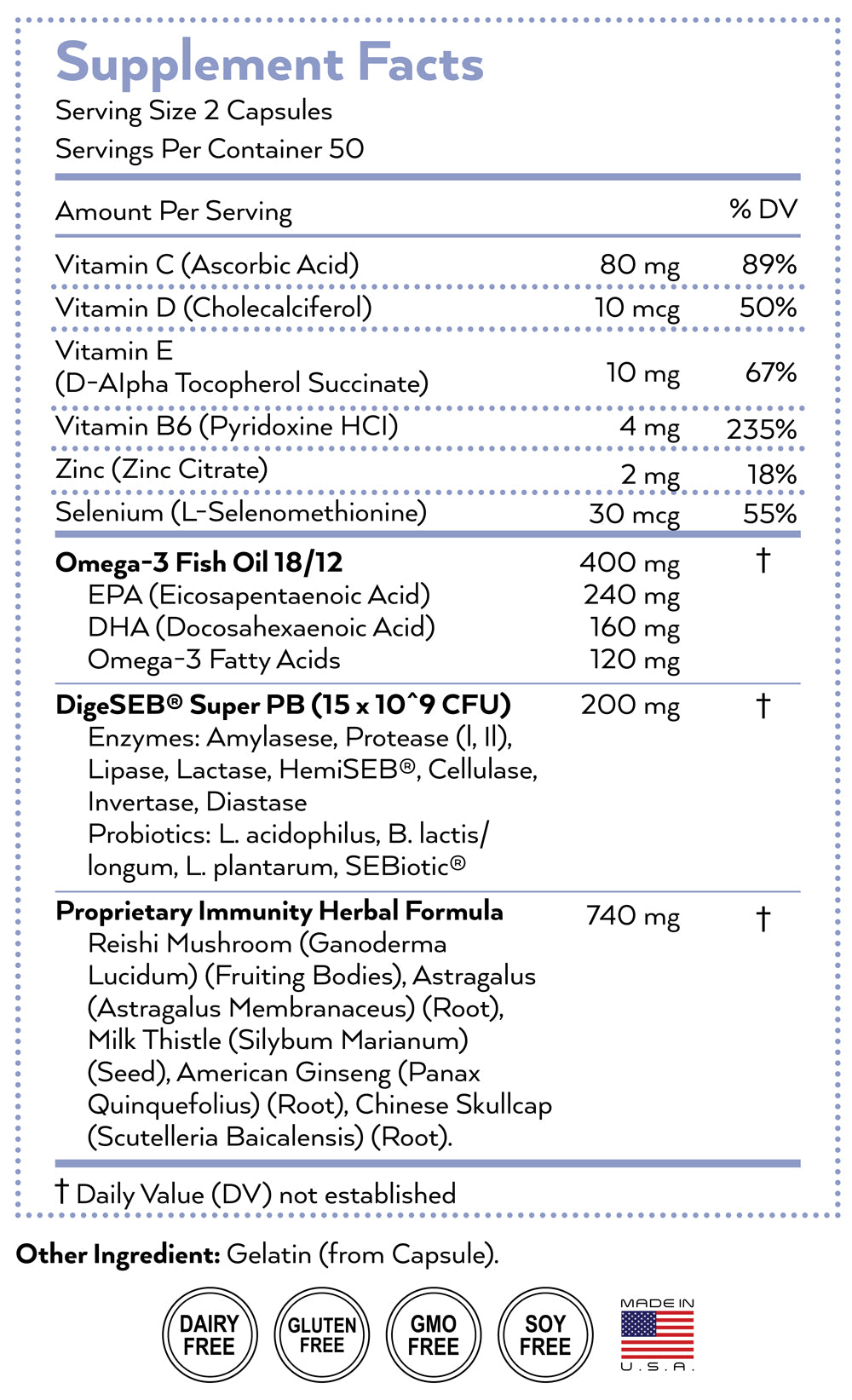 immune supplement nutrition facts