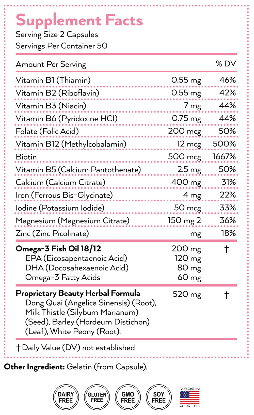 beauty supplement nutrition facts