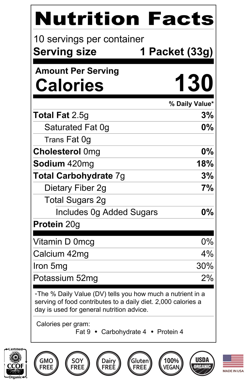 black tea protein supplement nutrition facts