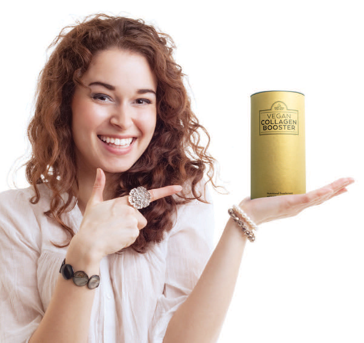 woman holding vegan collagen booster
