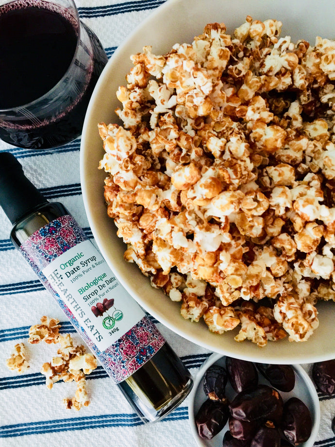 Caramel Popcorn: Made with Healthy Date Syrup