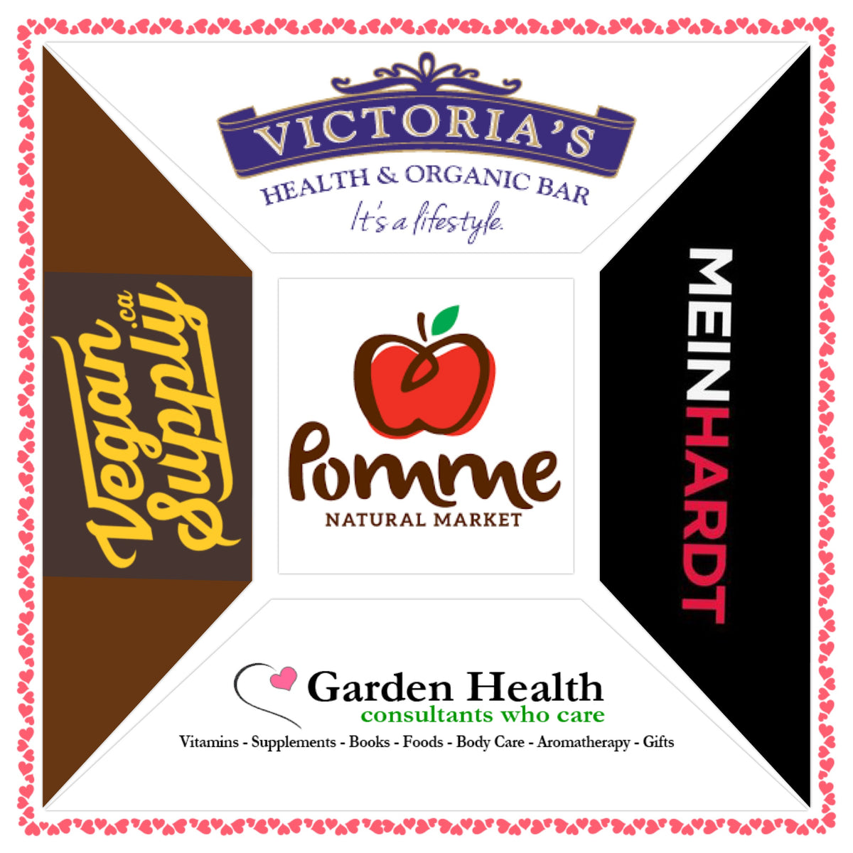 Victoria's Health & Organic Bar, Vegan Supply, Meinhardt, Pomme Natural Market