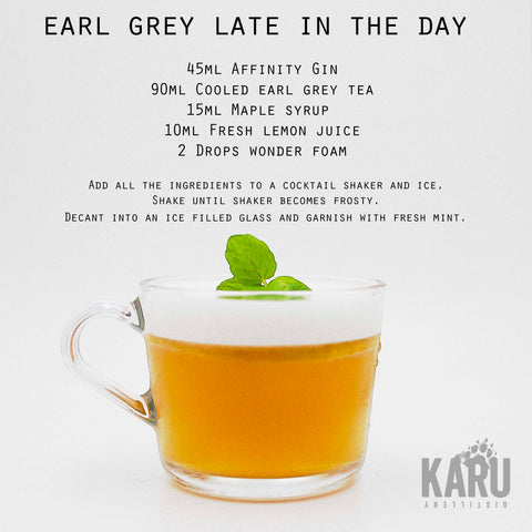 •	Earl Grey Late in the day Affinity Gin cocktail recipe by Karu Distillery Maple Syrup Fresh Lemon Juice Wonder Foam Garnish fresh mint