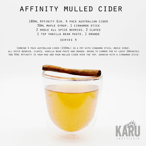 •	Affinity Gin Mulled Cider cocktail recipe by Karu Distillery featuring Australian Hillbilly Non-Alcoholic Apple Cider Maple Syrup cinnamon stick whole all spice berries cloves vanilla bean paste orange