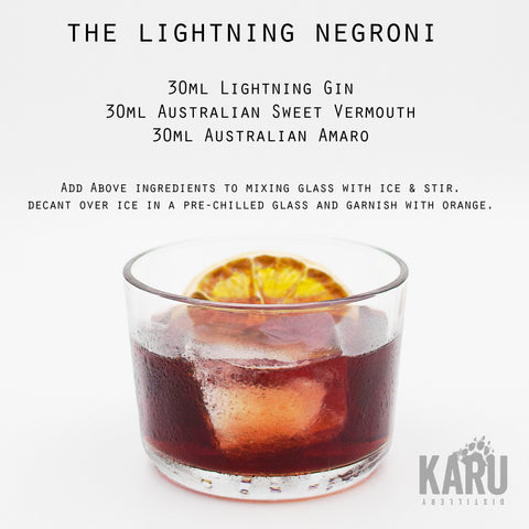 •	Lightning Gin Negroni cocktail recipe by Karu Distillery Australian Sweet vermouth Amaro bitters