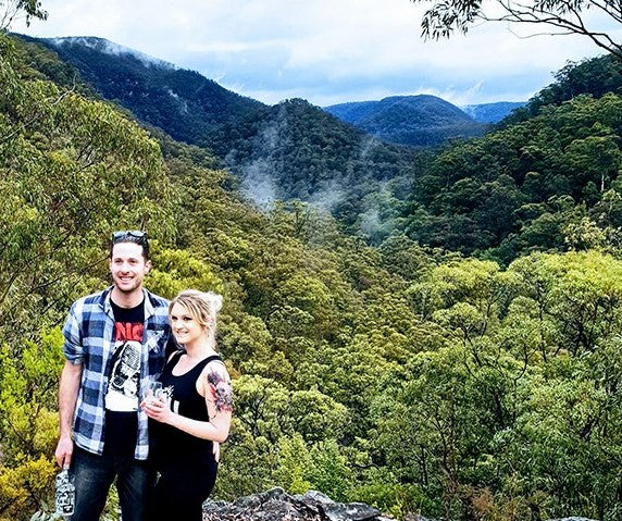 Nick and Ally Ayres at the Karu Distillery Lookout over the Devils Wilderness NSW Blue Mountains Hawkesbury Region