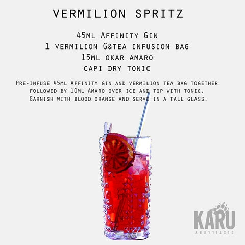 •	Vermilion Spritz Affinity Gin G&Tea premium infusion teabag cocktail recipe by Karu Distillery Okar Amaro bitters Capi dry tonic water