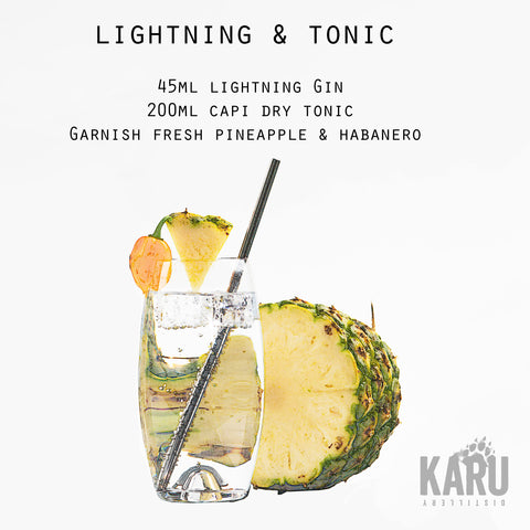 •	Lightning Gin and Tonic cocktail recipe by Karu Distillery Pineapple garnish Habanero Pepper