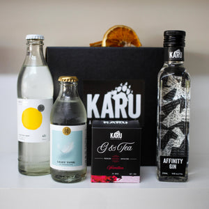 Mini Affinity Gin & Tonic Pack by Karu Distillery with Strangelove Light Tonic and Japanese Yuzu Soda, Vermilion G&Tea Cocktail Infusions Dehydrated Orange garnish