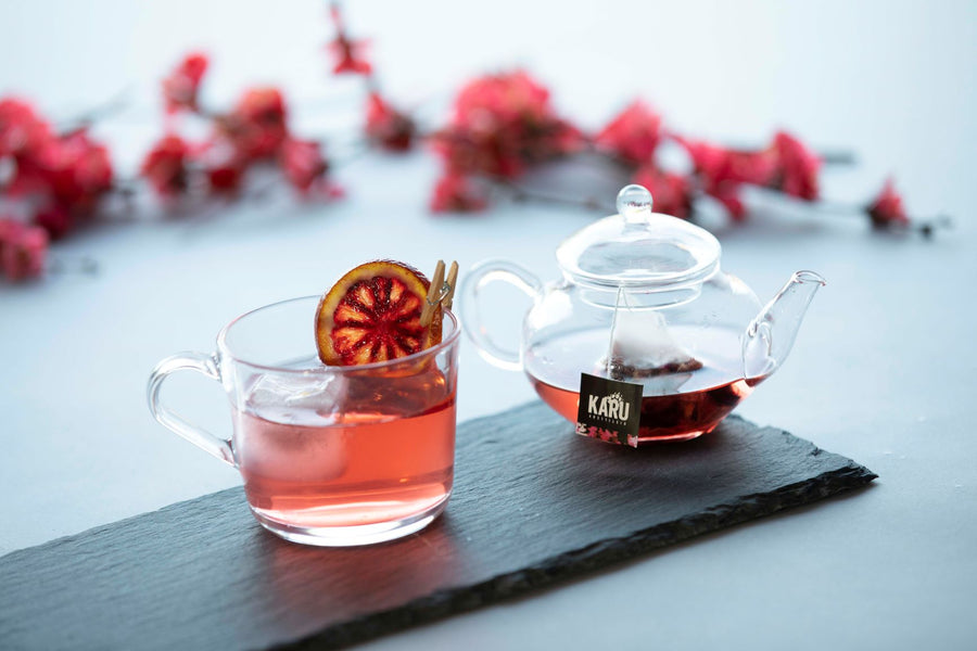 Karu Distillery Vermilion Premium G&Tea Cocktail Infusion with Affinity Gin and Tonic served in a Glass Teapot