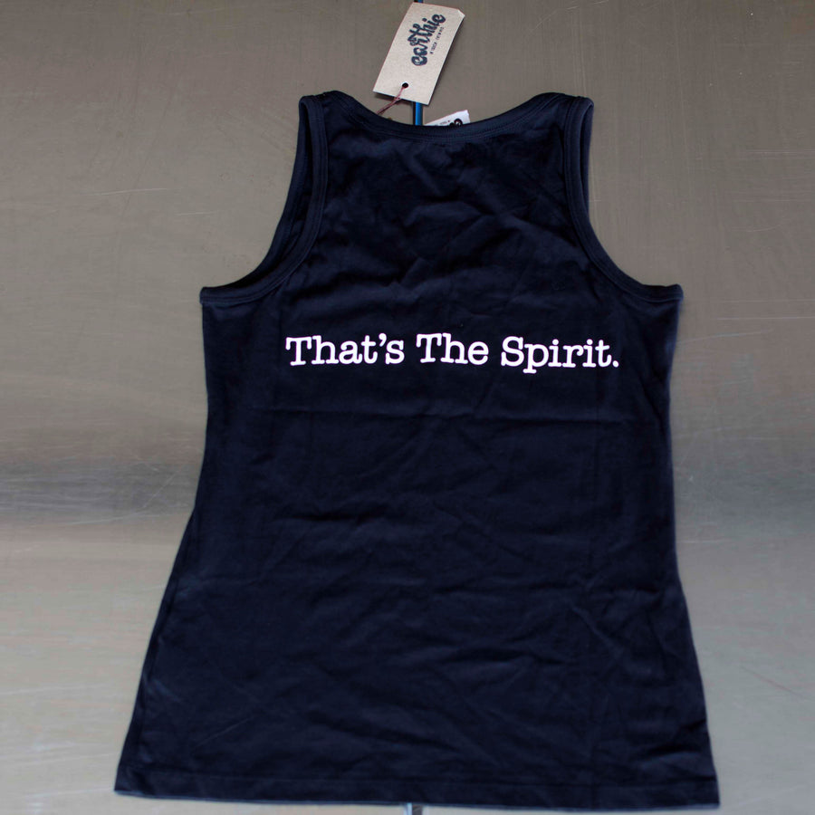 Karu Distillery Black Organic Cotton womens singlet Back Earthie Tee branded Ethically Made