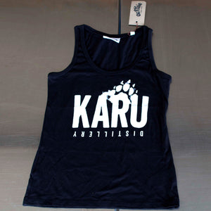 Karu Distillery Black Organic Cotton womens singlet Front Earthie Tee branded Ethically Made
