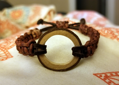 Open Circle Leather Braided