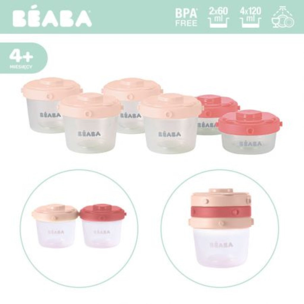 Beaba 6 X 120ml Stackable Jars Clip Portion 2nd Age