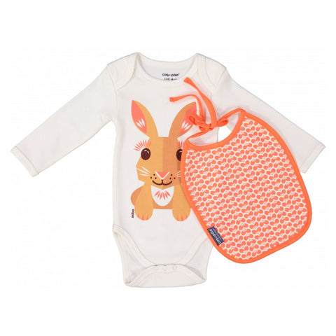 Coq En Pate Long Sleeves Rabbit Bodysuit & Bib Set in Box
