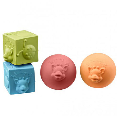 Sophie La Giraffe So'Pure 2 Balls & 2 Cubes set