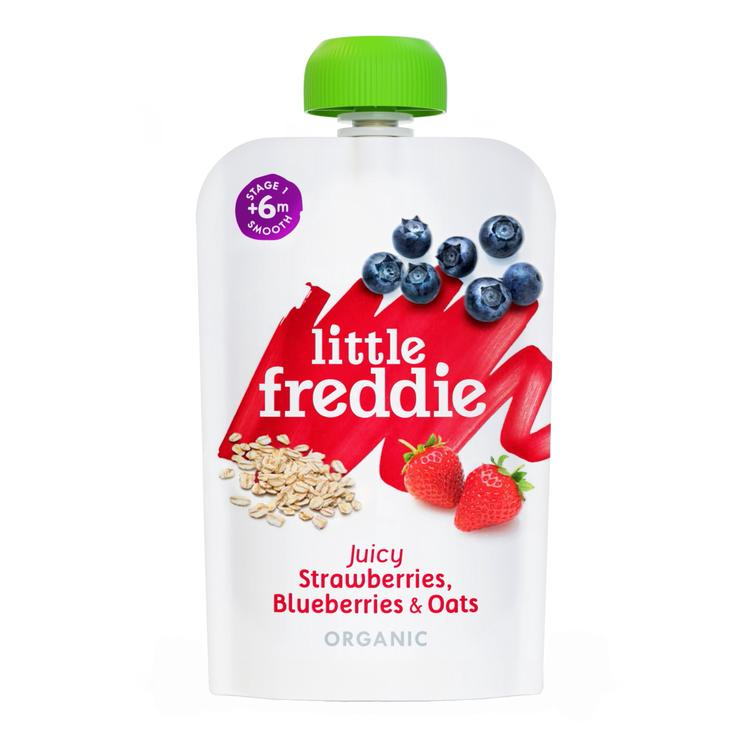 Little Freddie Juicy Strawberries, Blueberries & Oats Puree