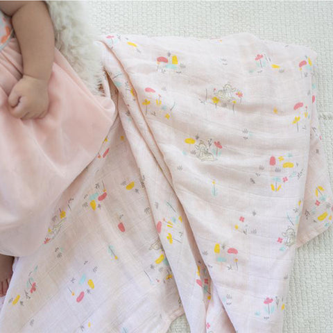 Elly Organic Cotton Swaddle - Floral Bambi