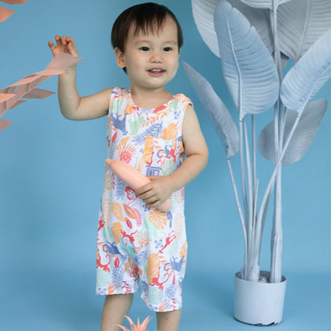 Elly Sleeveless Romper - White Jungle Book