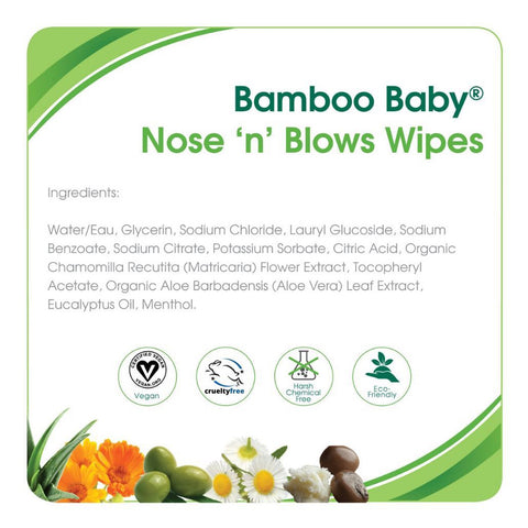 Aleva Naturals Bamboo Baby Nose 'n' Blows Wipes 30ct