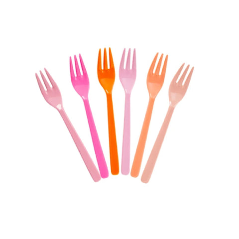 Rice Melamine Cake Forks Set of 6