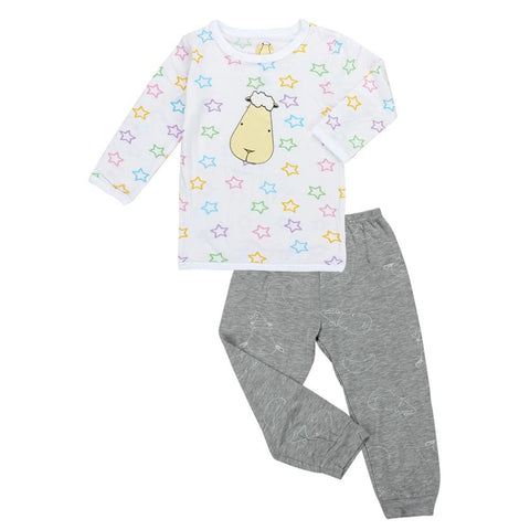 Baa Baa Sheepz Pyjama Set Front Colourful Star, Moon & Sheepz Grey