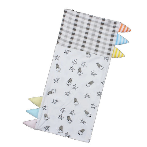 Baa Baa Sheepz Bed-Time Buddy Case Small Star & Sheep Checkers Grey Color & Stripe Tag - Medium