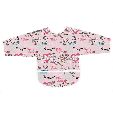 Kushies Clean Bib with Sleeves Pink Love