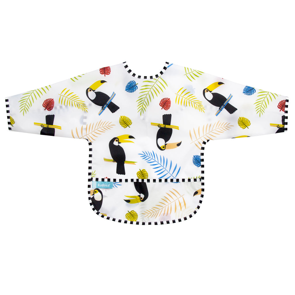 Kushies Waterproof Clean Bib with Sleeves White Toucans