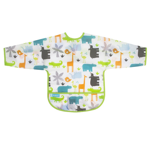 Kushies Waterproof Clean Bib with Sleeves White Jungle