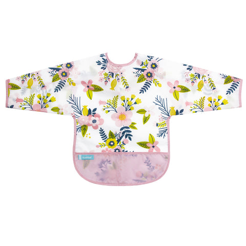 Kushies Waterproof Clean Bib with Sleeves Pink Garden Flowers
