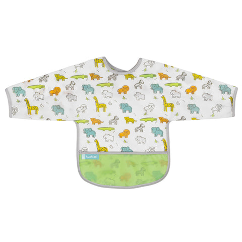 Kushies Waterproof Clean Bib with Sleeves White Little Safari
