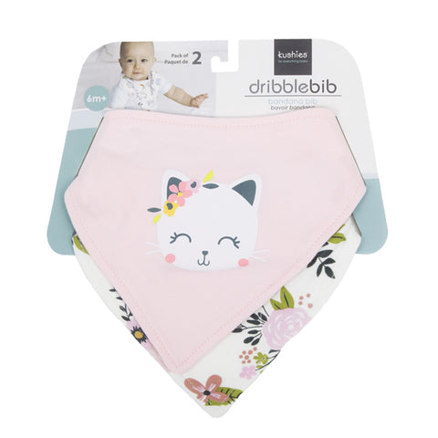 Kushies Bandana Bib 2 Pack - Kitty