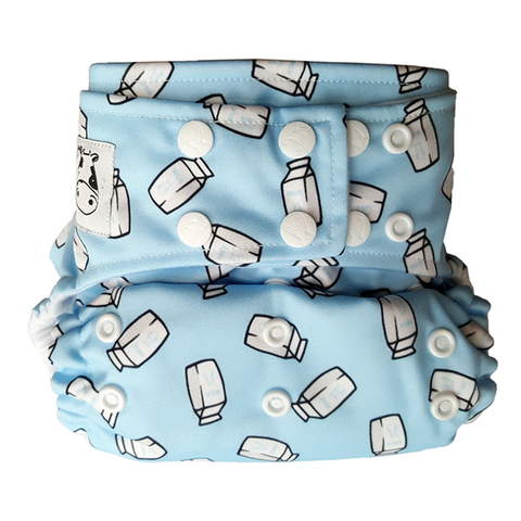 Moo Moo Kow Bamboo Cloth Diaper One Size Snap - Milk Cartons