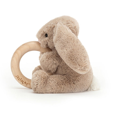 Jellycat Bashful Beige Bunny Wooden Ring Toy