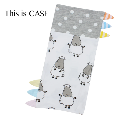 Baa Baa Sheepz Bed-Time Buddy™ Case Big Sheepz White & Polka Dot Grey with Color with Stripe tag