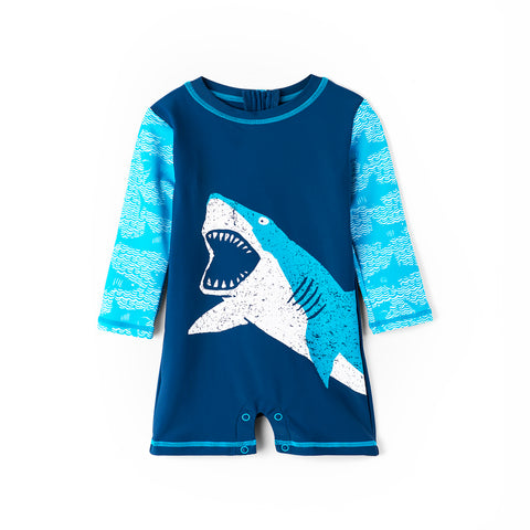 Hatley Baby Boy Rashguard One-Piece - Shark Alley