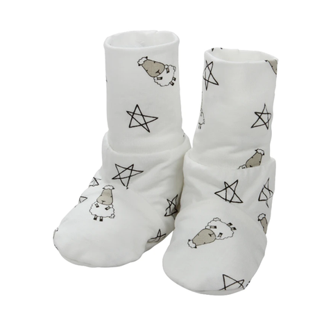 Baa Baa Sheepz Booties Small Star & Sheepz White