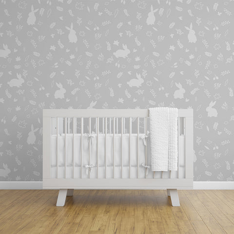 Urban Li'l Bunny Wallpaper - Grey