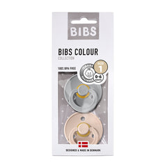 Bibs Natural Rubber Pacifier Twin Pack - Cloud & Blush 0-6Months