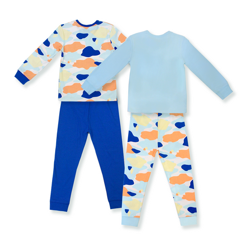 Oeteo Camo Flash Jammies 4-Piece Bundle Set (Blue)