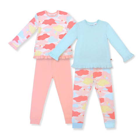 Oeteo Camo Flash Ruffle Jammies 4-Piece Bundle Set (Pink)
