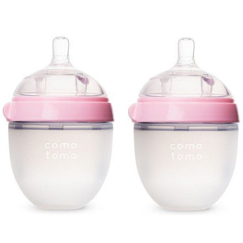 Comotomo Pink Silicone Milk Bottle 150ml  (Twin Pack)