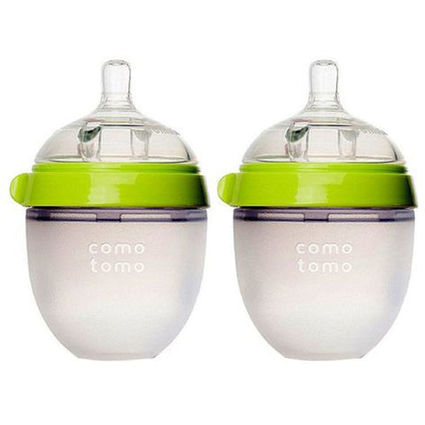 Comotomo Green Silicone Milk Bottle 150ml Twin Pack